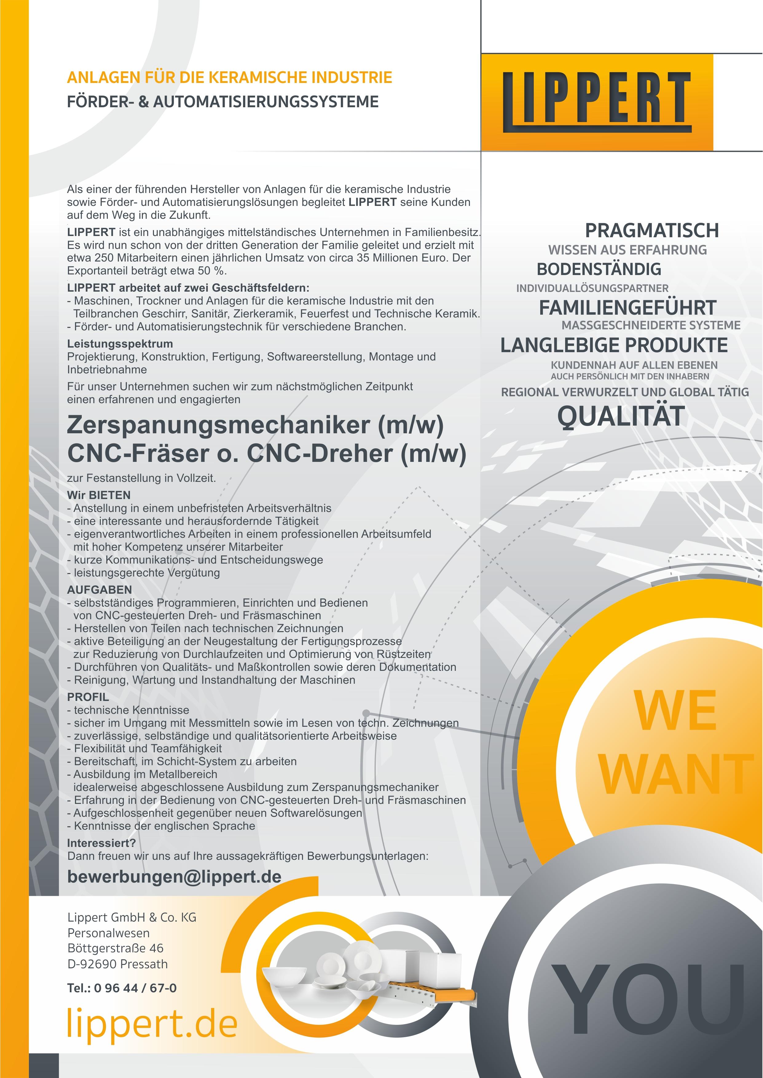 Zerspanungsmechaniker/CNC-Fräser/CNC-Dreher (m/w/d)
