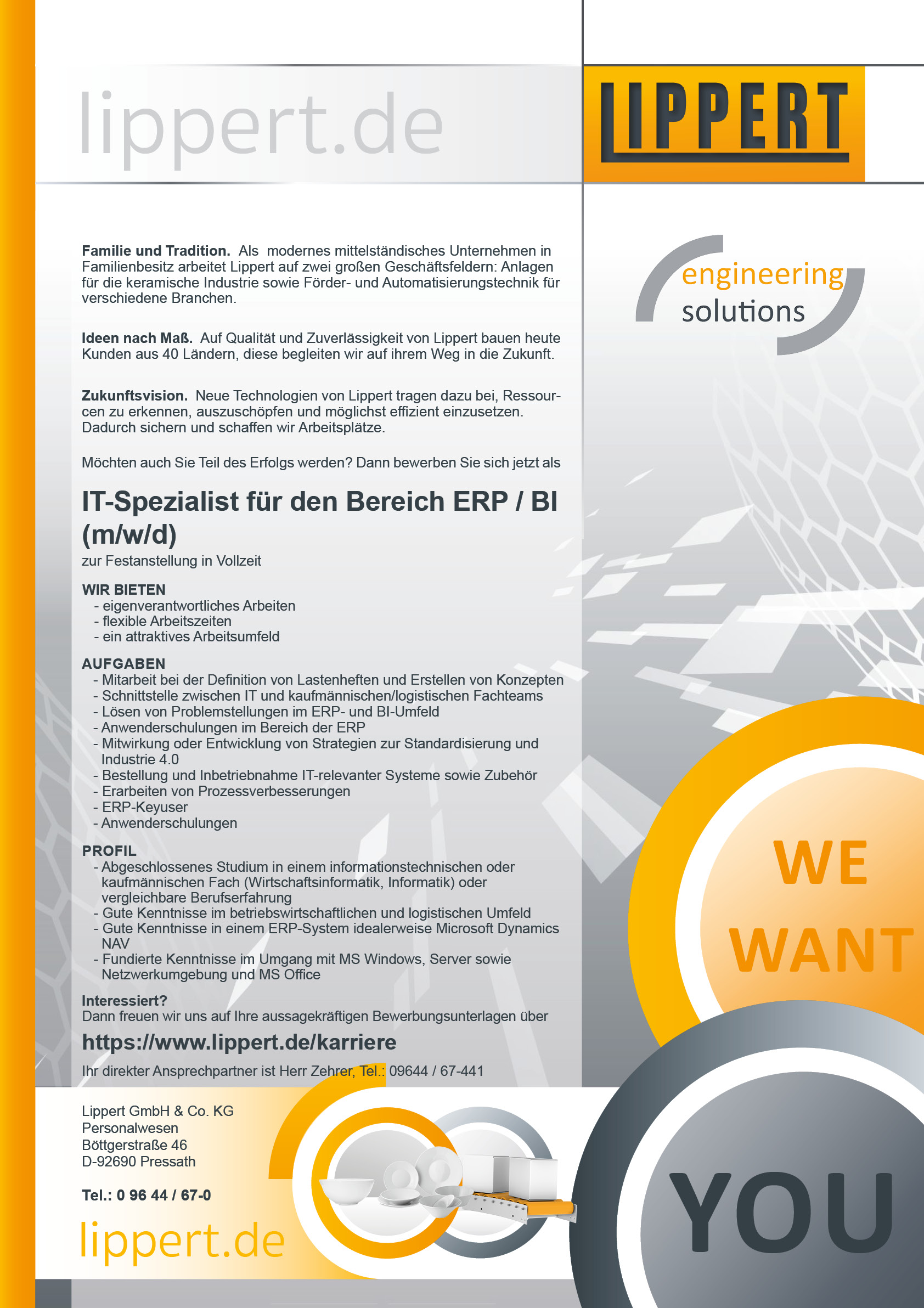IT-Spezialist Bereich ERP/BI (m/w/d)