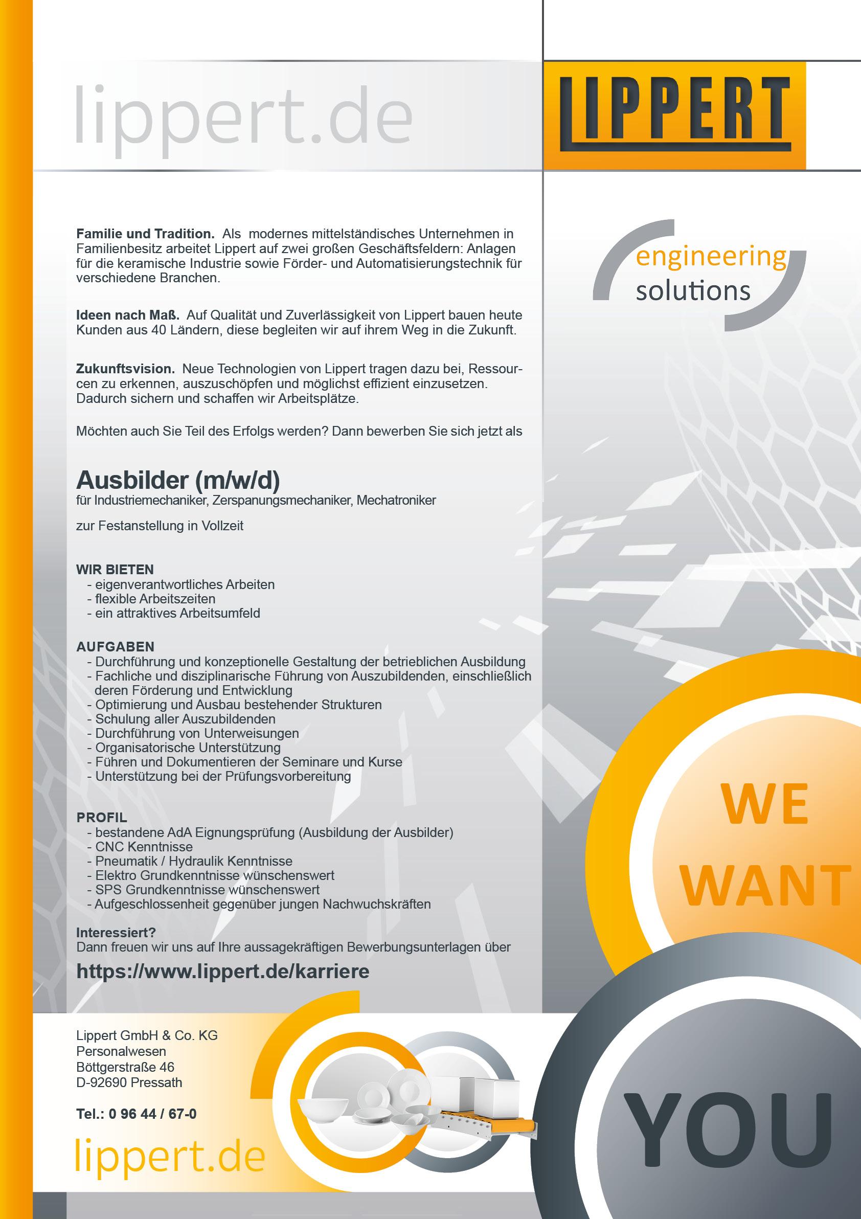 Ausbilder Industrie-, Zerspanungsmechaniker, Mechatroniker (m/w/d)