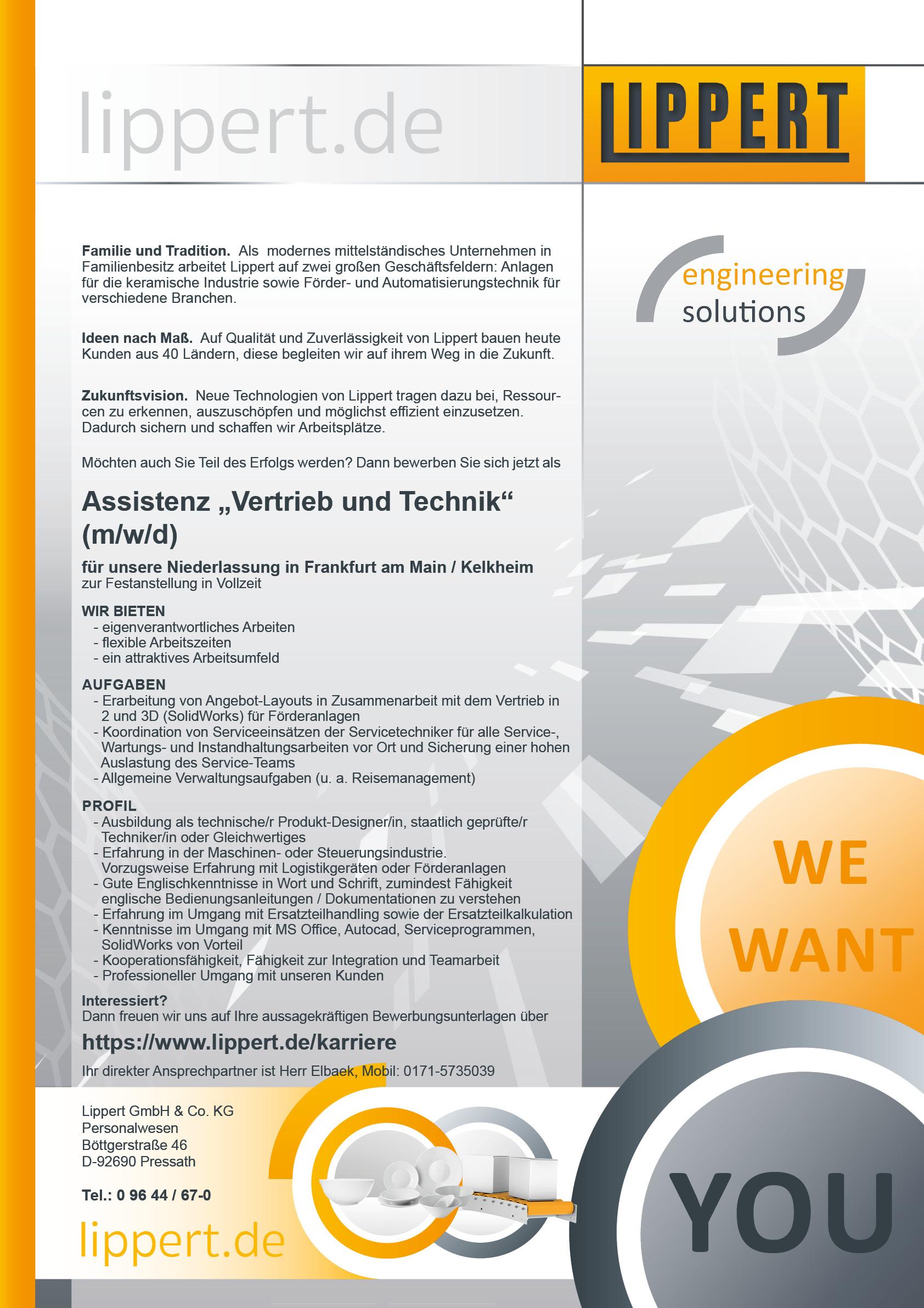 Assistenz Vertrieb und Technik (m/w/d)